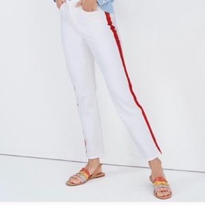 Madewell White Jeans with Red Tuxedo Stripe
